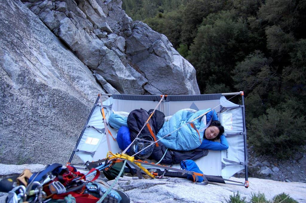 Hanging from a Cliff in a Portaledge Tent