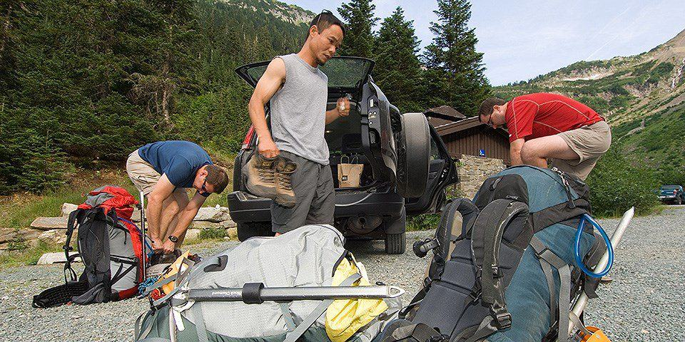 Unloading Gear For Backcountry Camping Trip